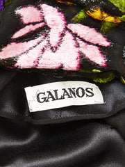 Galanos Silk Charmeuse and Cut Velvet Gown