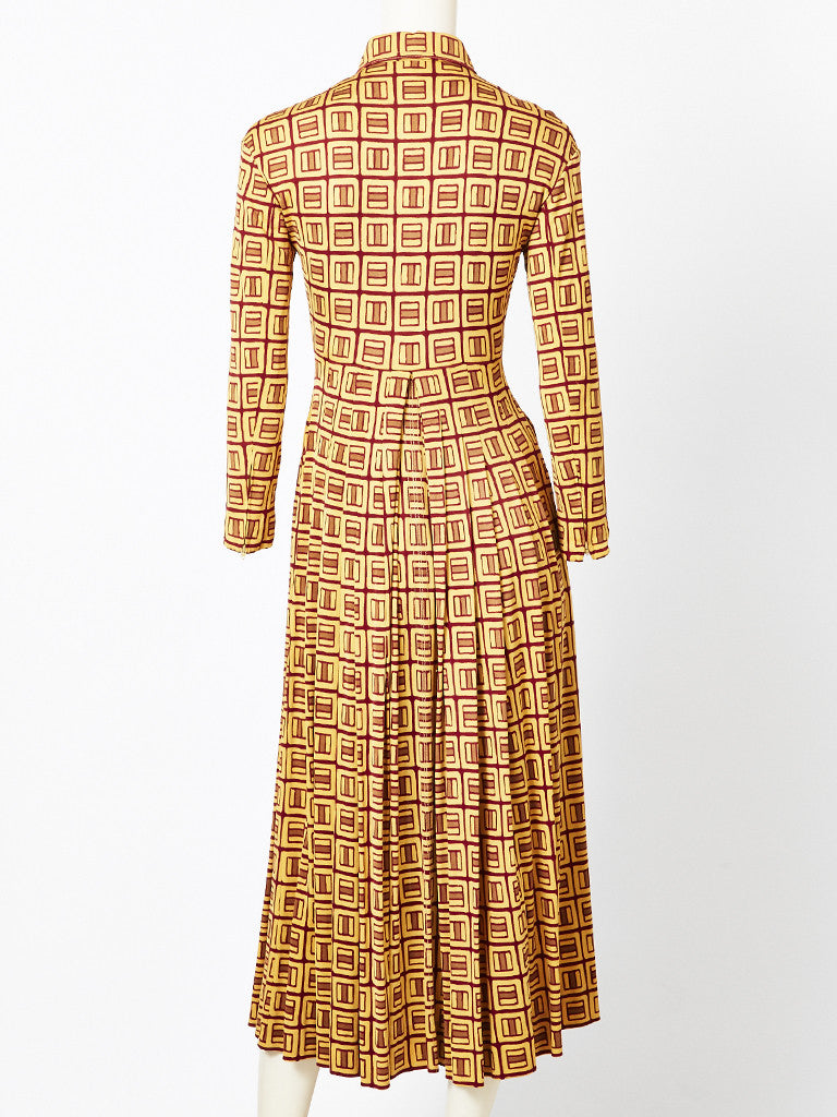 Galanos Geometric Pattern Shirt Dress
