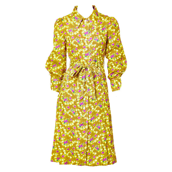 Galanos Floral Patterend Silk Day Dress