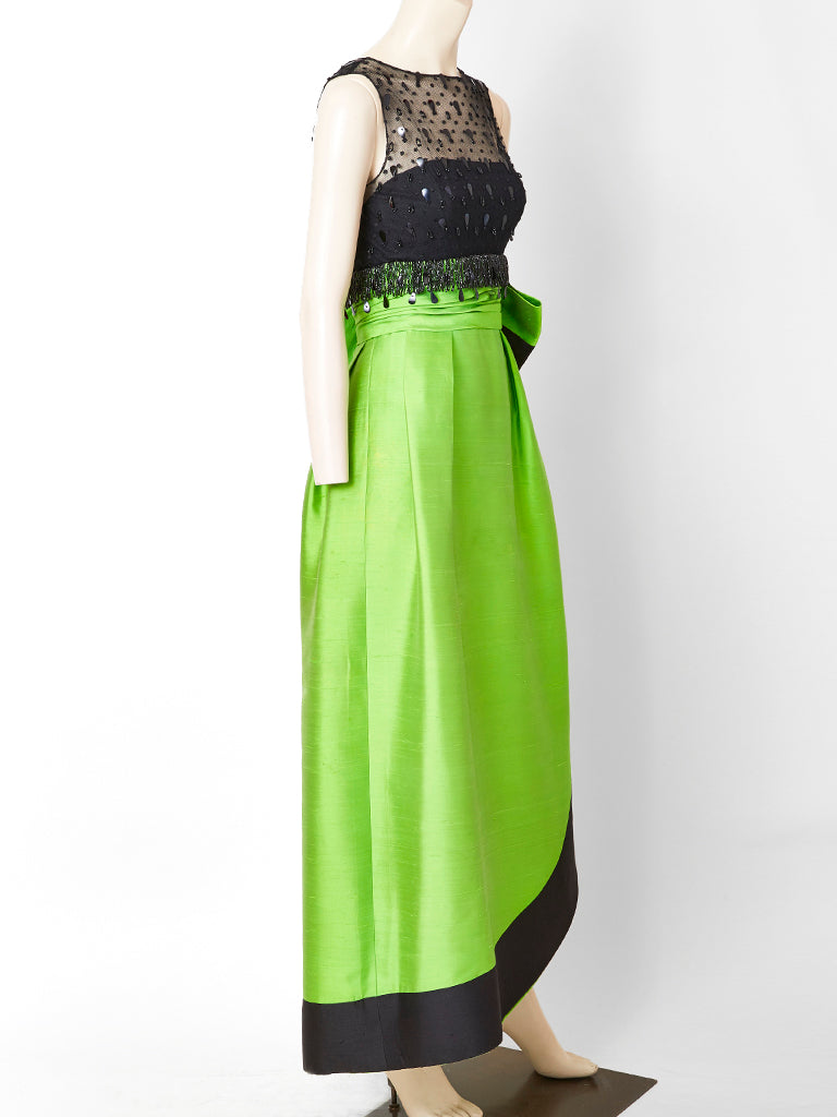 Emerald Green and Black Gown Attributted to Irene Galitzine C. 1960's