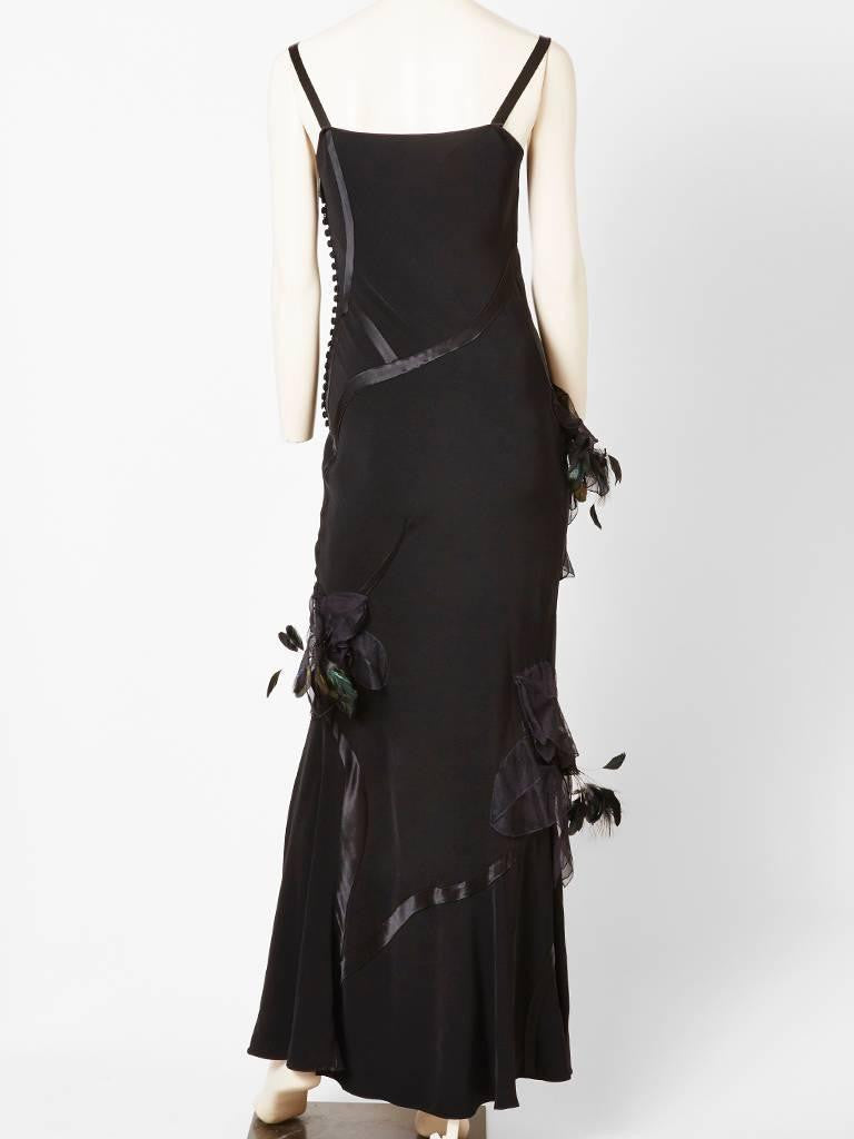 John Galliano Crepe and Satin Gown With Feather Detail
