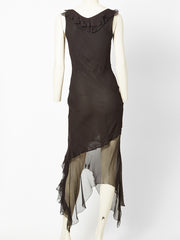 John Gallino Bias Cut Dress With an Asymmetric Sheer Hem
