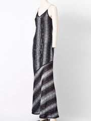 John Galliano Bias Cut Lurex Knit Evening Dress with Sequins