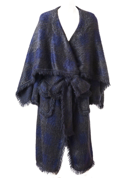 John Galliano Fringed Mohair Blanket Coat