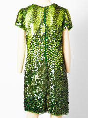 John Galliano Chiffon Tee Shirt Dress With Paiettes