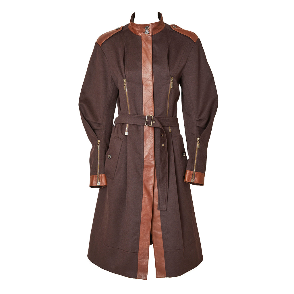 John Galliano Belted Coat with Zipper Detail