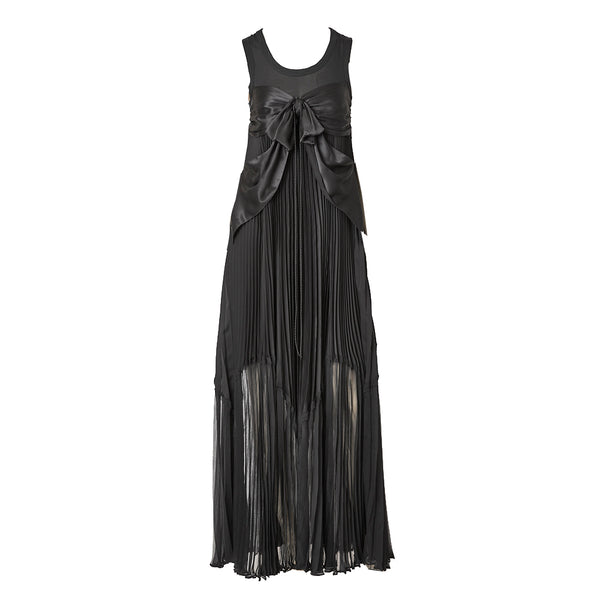 Jean-Paul Gaultier Pleated Silk and Satin Maxi Dress