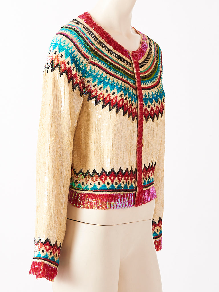 Jean Paul Gaultier Sequined Fair Isle Pattern Cardigan