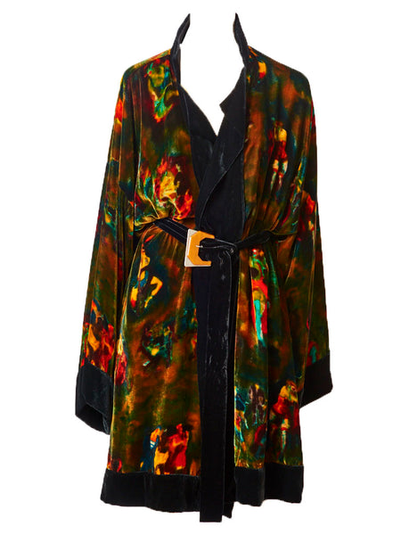 Jean Paul Gaultier Velvet Painterly Pattern Belted Kimono