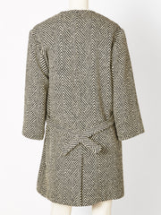 Rudi Gernreich Herringbone Tweed Wrap Coat