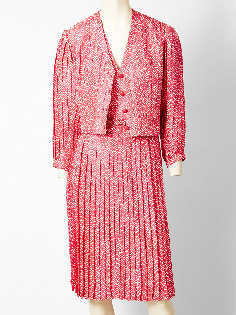Givenchy Couture Silk Herringbone Pattern Dress and Jacket Ensemble