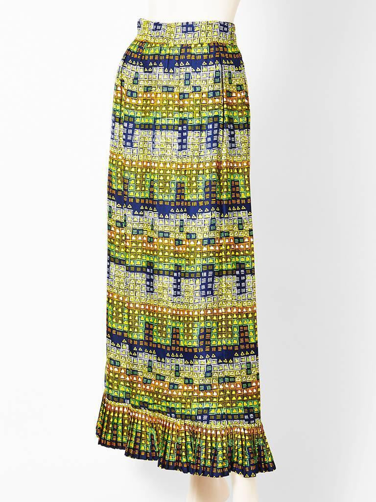 Givenchy Printed Silk Maxi Skirt 1970's