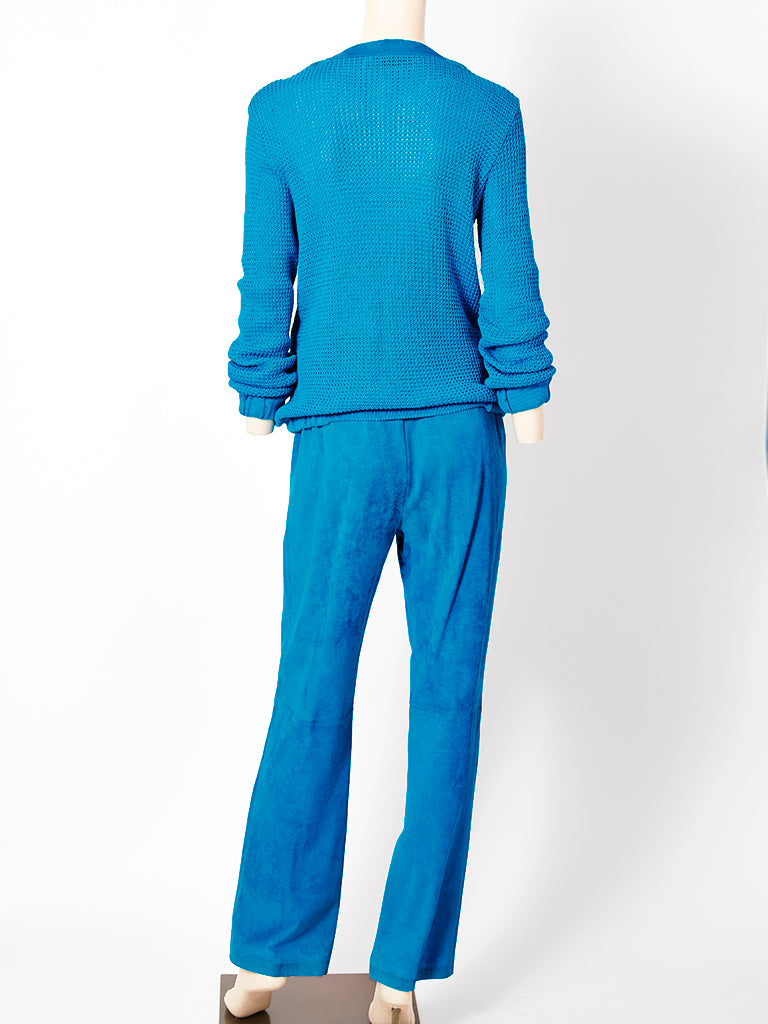 Gucci Suede and Cotton Knit Pant Ensemble