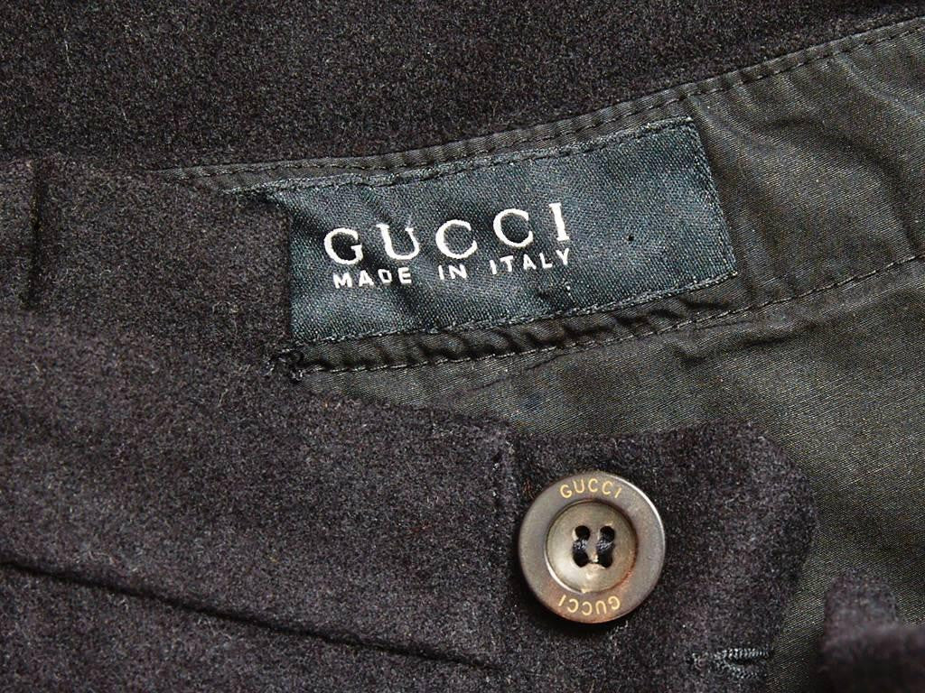 Gucci Wool Flannel Wide Leg Pant