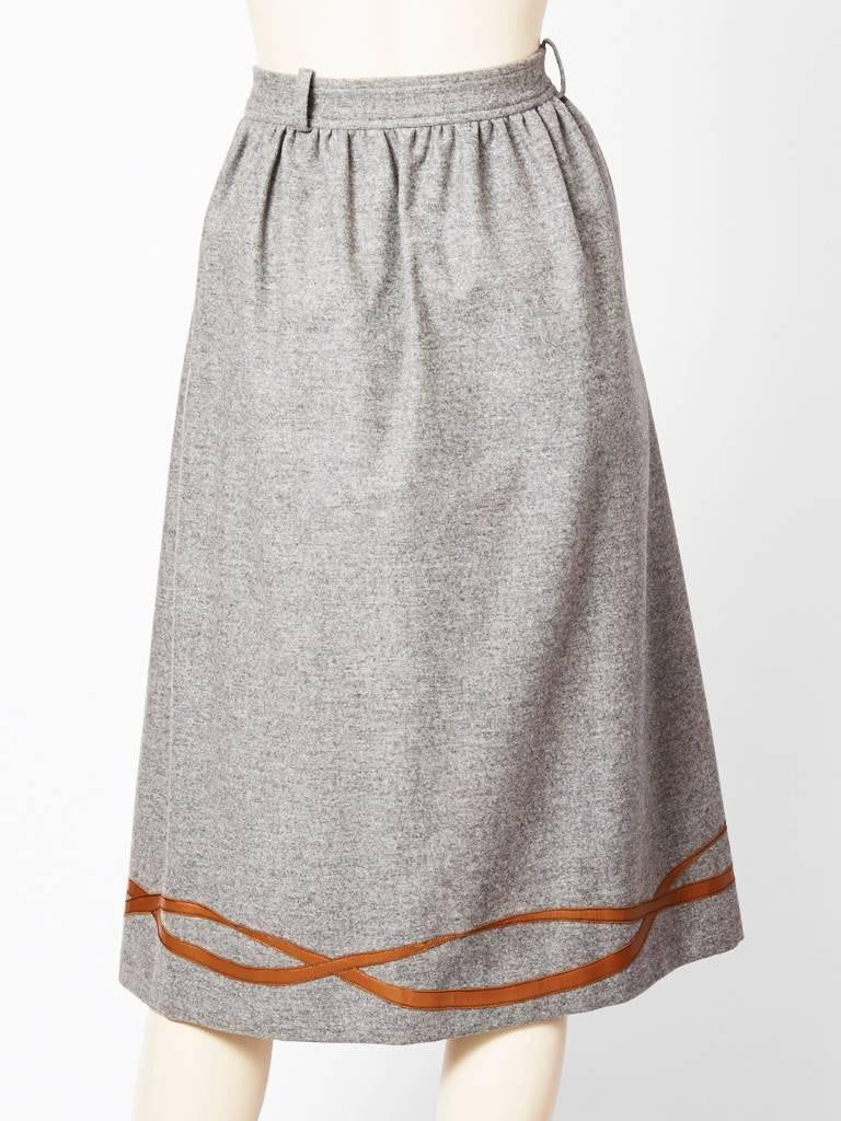 Gucci Grey Flannel Skirt with Leather Detail