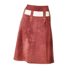 Gucci Mauve Suede A Line Skirt with Cut Outs