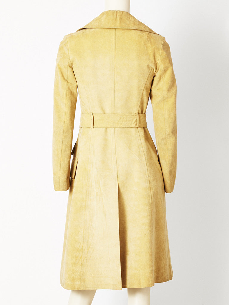 Halston Double Breasted Belted Ultra Suede Trench C. 1970's