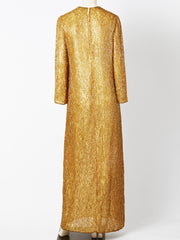 Halston Bugle Beaded Gown