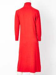 Halston Turtle Neck Cashmere Knit Sweater Dress