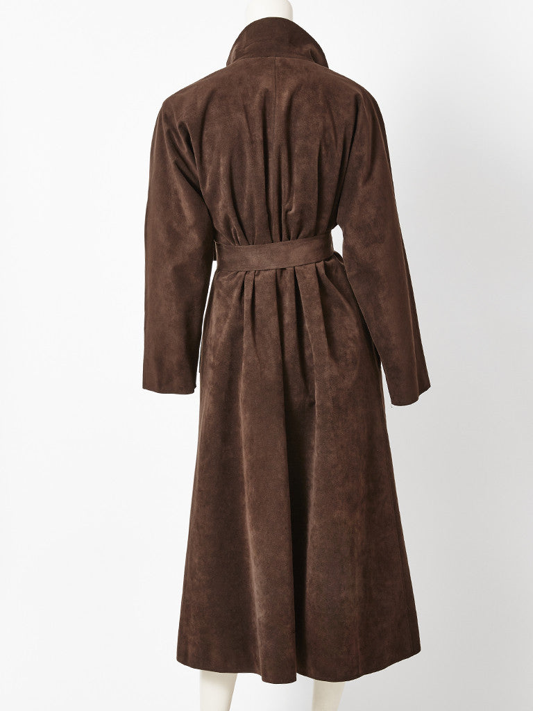 Halston Ultra Suede Belted Coat