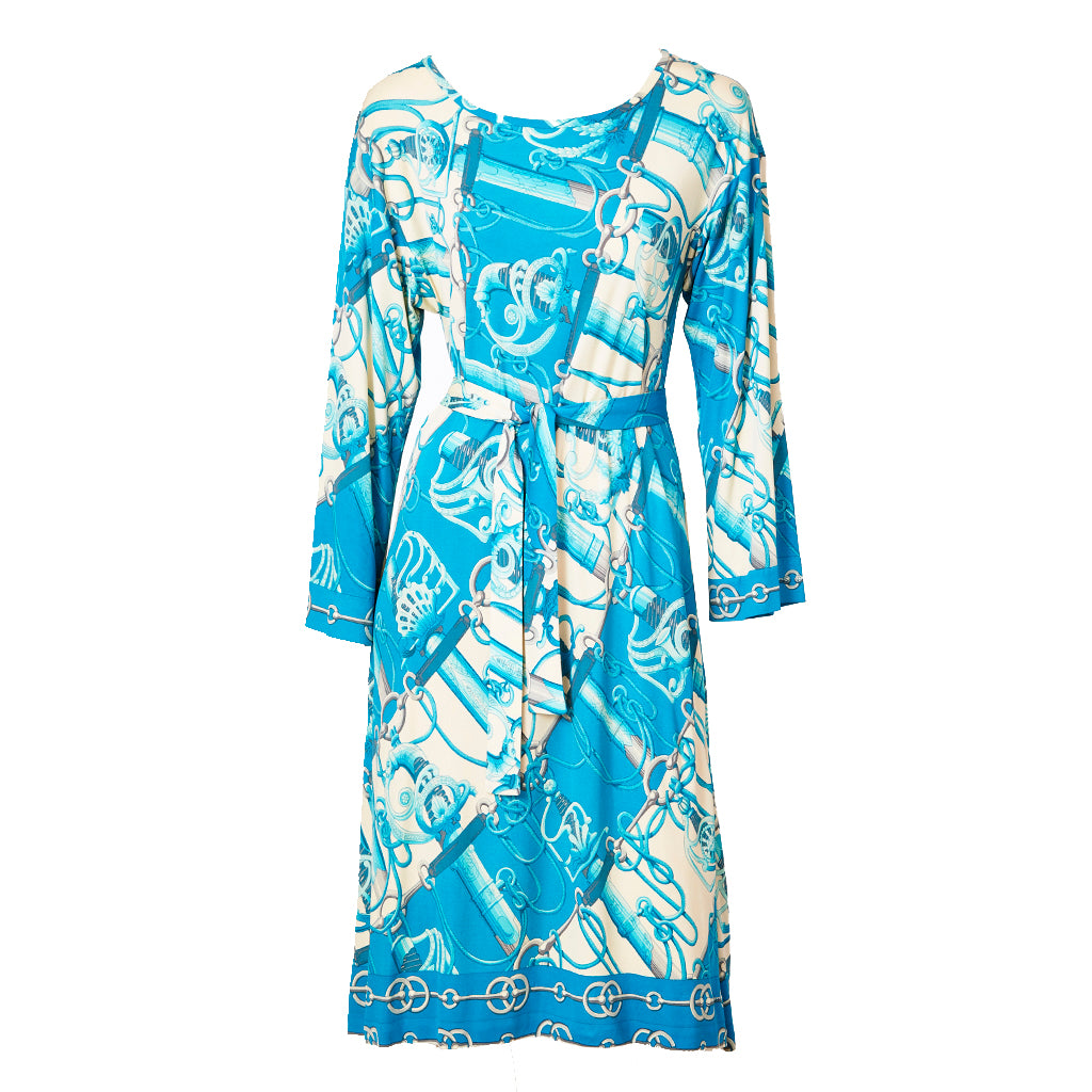 Hermes Cerulean Blue and Ivory Pattern Silk Jersey Dress ...