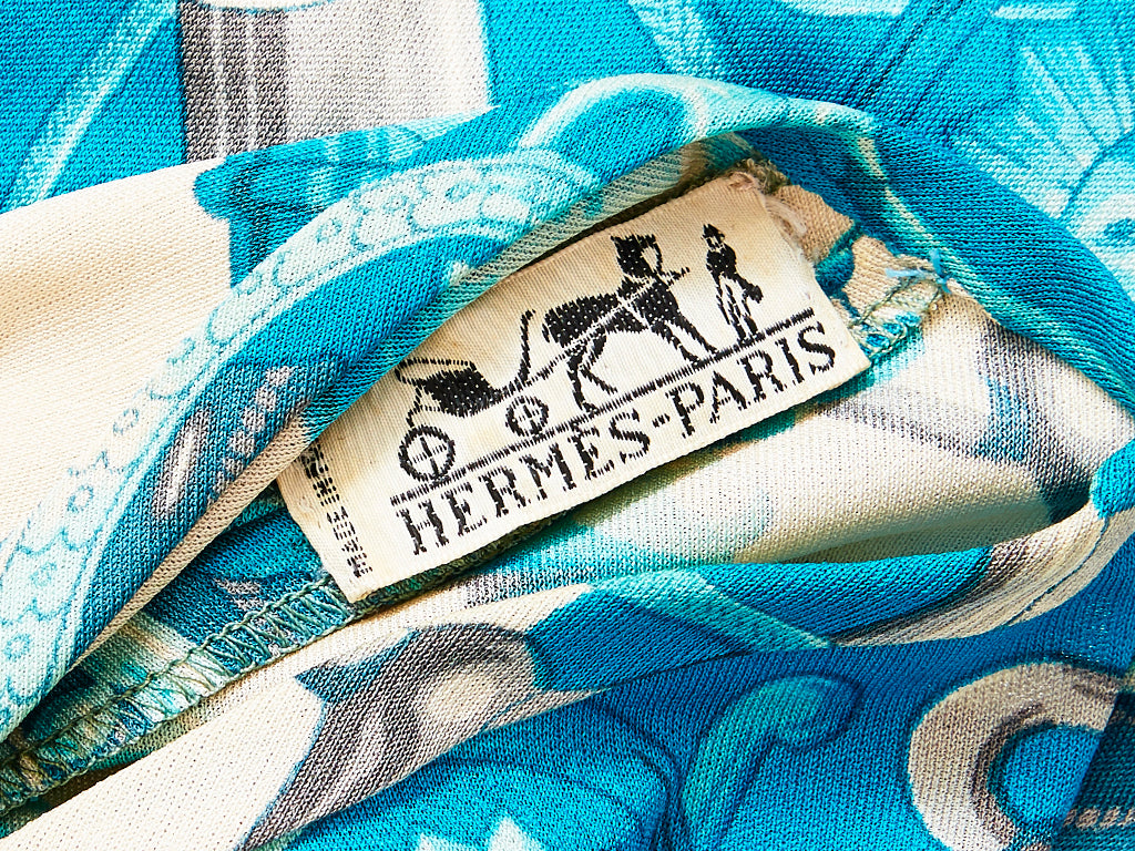 Hermes Cerulean Blue and Ivory Pattern Silk Jersey Dress