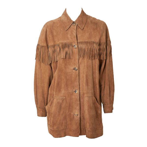 Hermes Suede WEstern Style Jacket with Fringe Detail