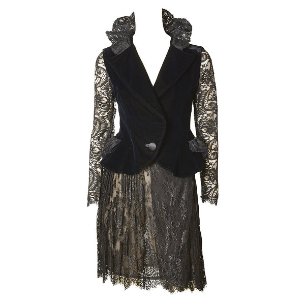 Christian LaCroix Velvet and Lace Cocktail Skirt and Jacket Ensemble