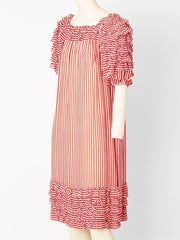 Guy Laroche Striped Chiffon Dress With Ruffles