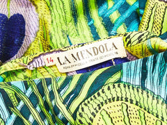 La Mendola Silk Peacock Pattern Maxi Dress