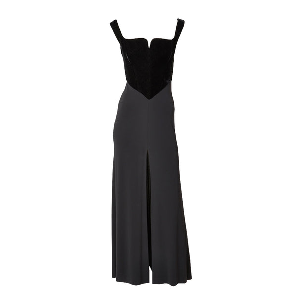 Hervé Leger Black Gown with Velvet Bustier