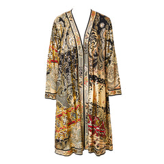Leonard Patterned Jersey Kimono with Gold Detail
