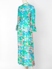 Tina Leser Patterend Maxi Dress with Scalloped Detail