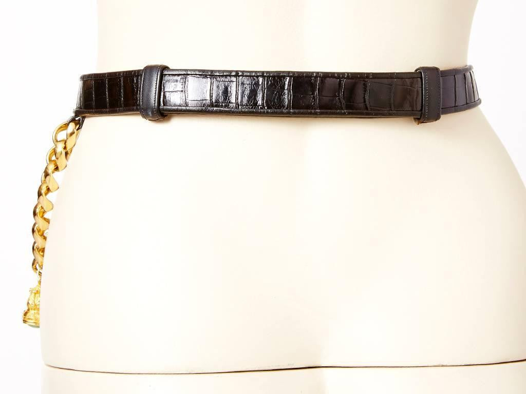 Judith Leiber Adjustable Croc Belt With Charms