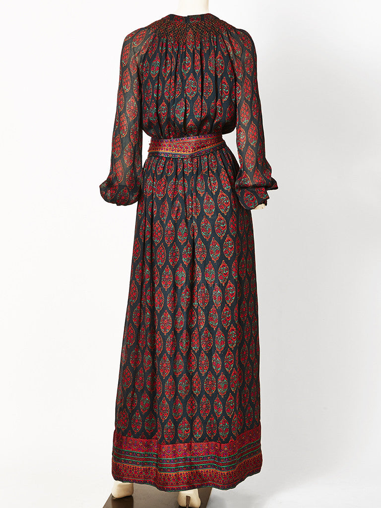Treacy Lowe Paisley Patterned Chiffon Maxi Dress