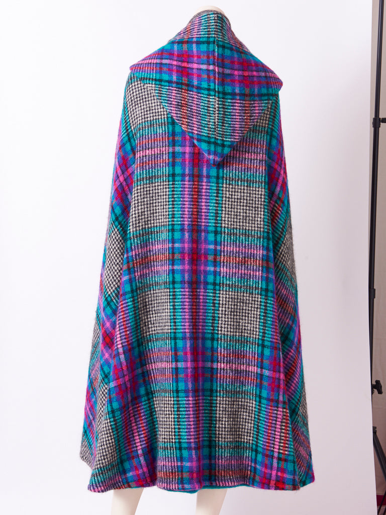 Missoni Plaid Wool Knit Cape With Hood