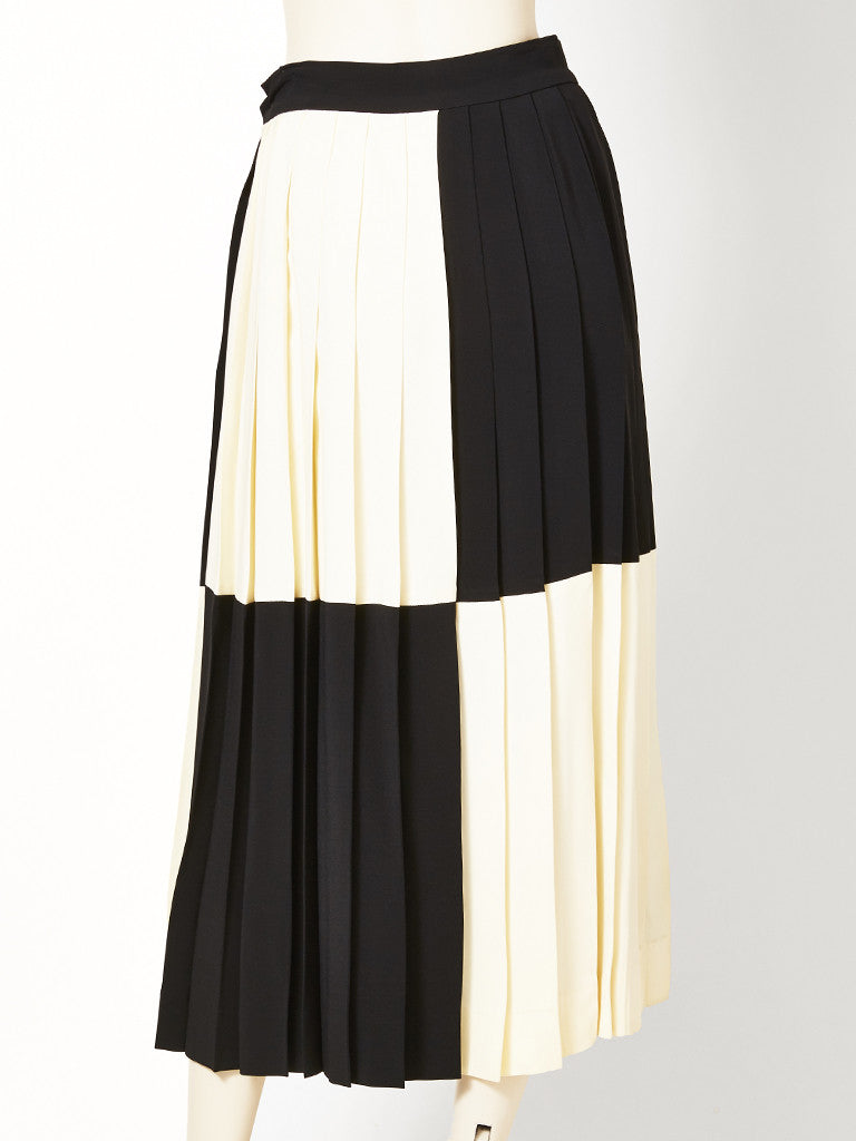 Moschino Silk Crepe Color Block Pleated Skirt