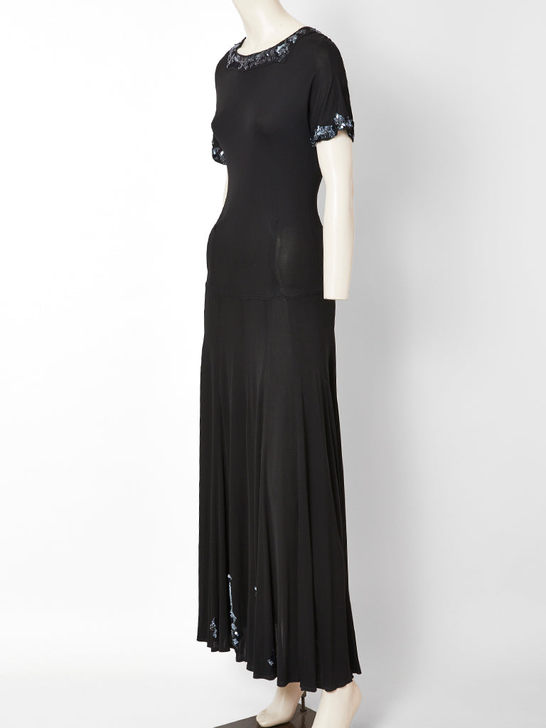 Jean Muir Jersey Maxi Dress with Sequined Embellishment