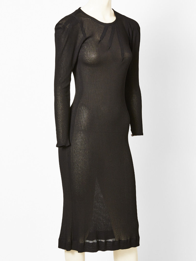 Jean Muir Black Long Sleeve Knit Dress