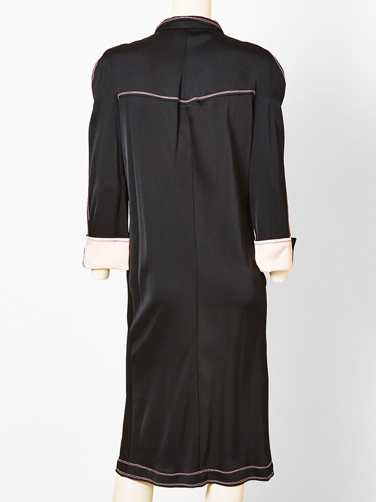 Jean Muir Satin Dress with Pink Top Stitching Detail