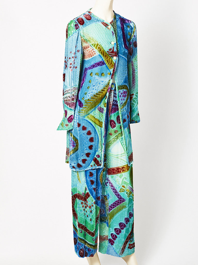 Colorful Cut Velvet Tunic and Pant Ensemble C.1970's