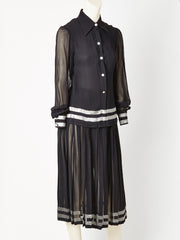 Chiffon 1970's Shirt and Skirt Ensemble with Silver Detail