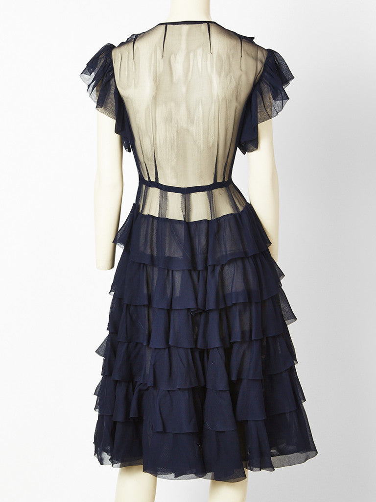Navy Chiffon Dress with Ruffle Detail