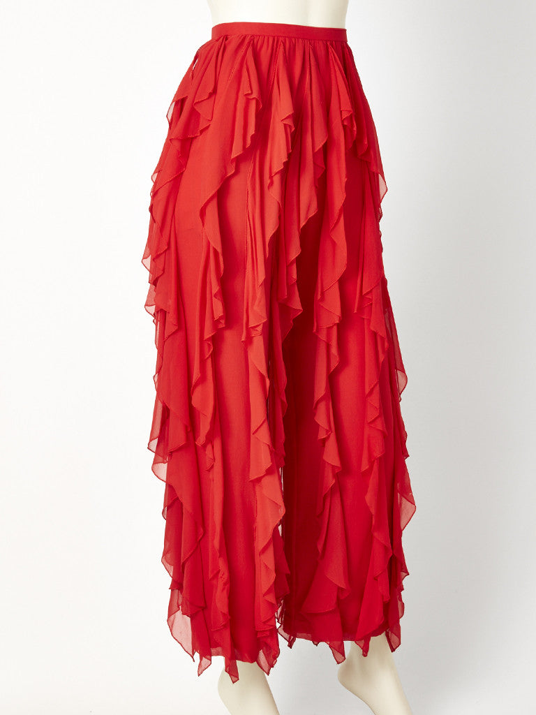 "Red Chiffon ""Can Can"" Pant"