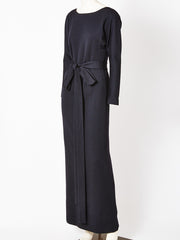 Norell Wool Jersey Belted Gown