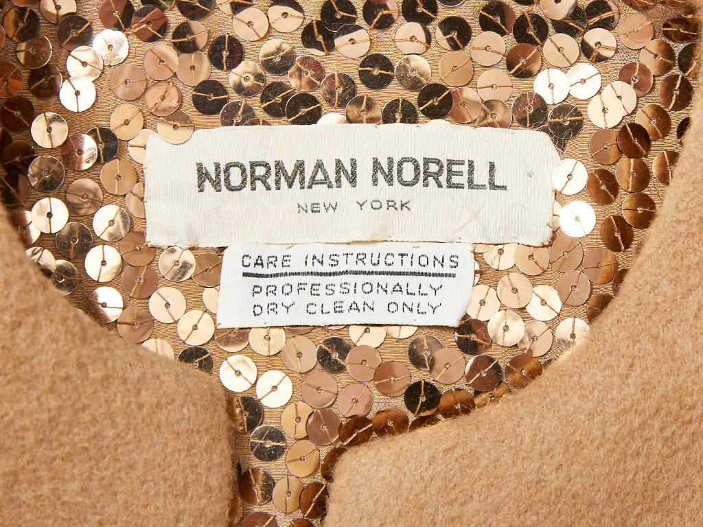 Norell Camel Hair Jacket with Sequined Interior