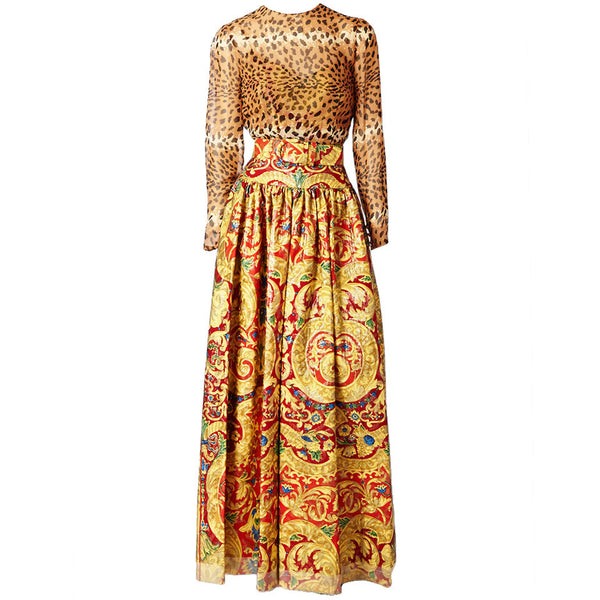 Bill Blass Brocade and Leopard Print Gown 1c70b5fa2