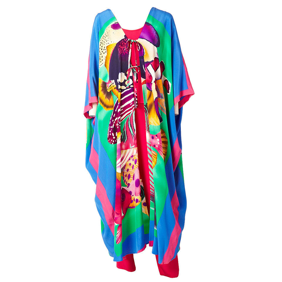 Bill Blass Printed Silk Caftan Ensemble