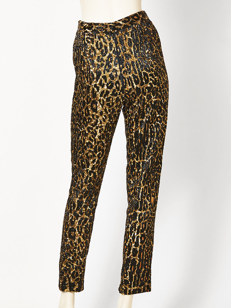 Todd Oldham Leopard Patterned Pants Ecncrusted With Sequins and Beads