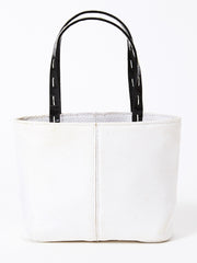 Renaud Pelligrino White Raffia Evening Tote Bag